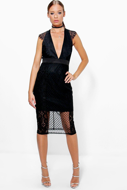 Dobbie & Lace V-Neck V-Back Dress - black