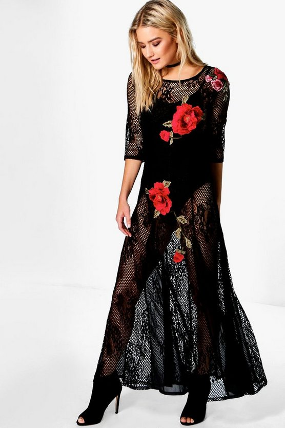Boutique Mady Lace Applique Maxi Dress