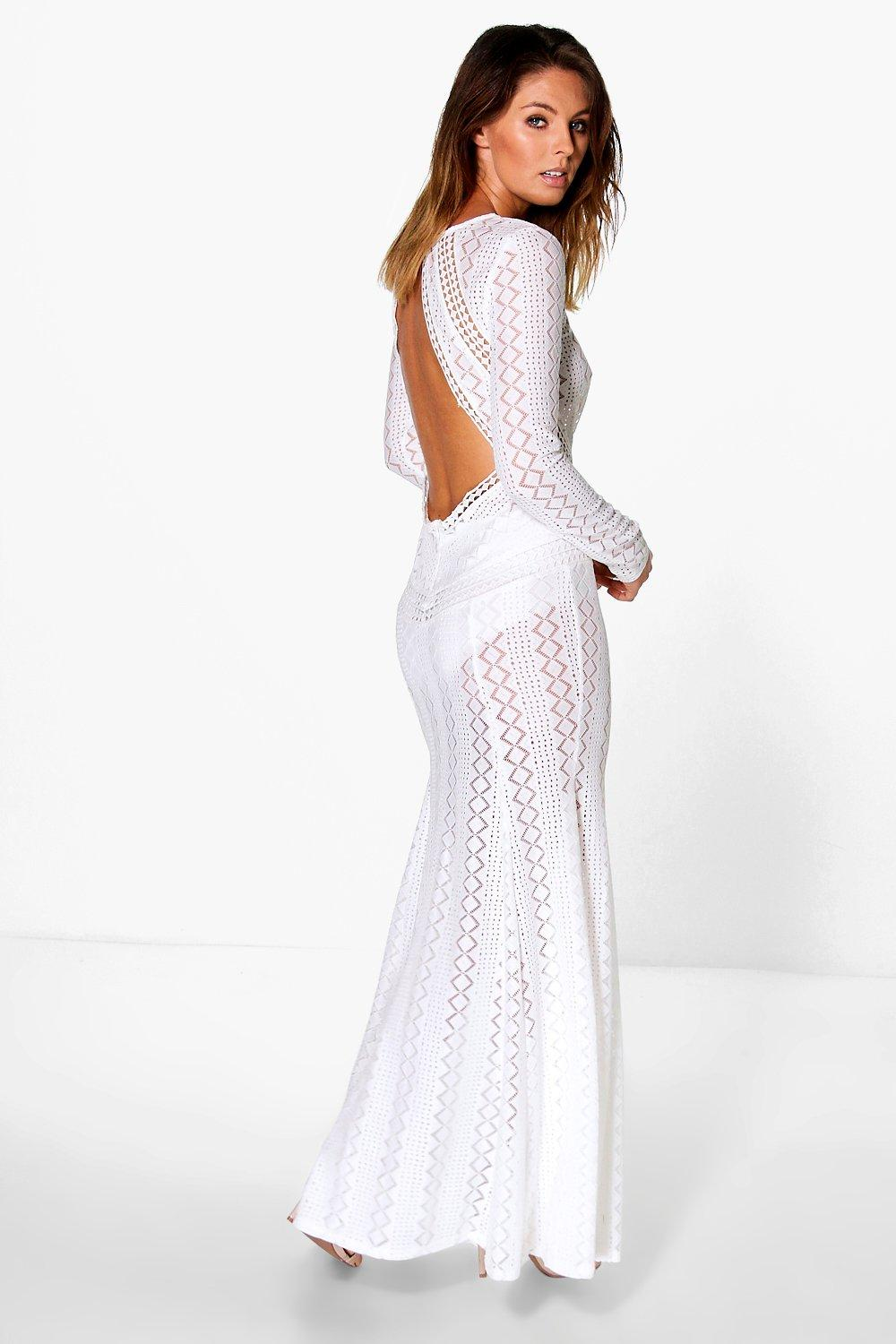 Boutique Danerys Lace Open Back Maxi Dress