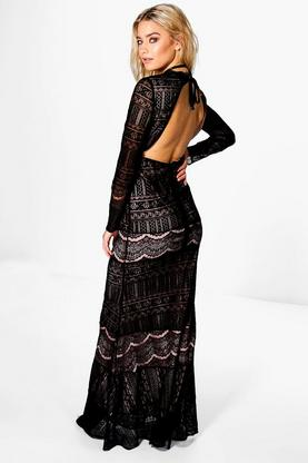 Boutique Aisling Lace Open Back Maxi Dress