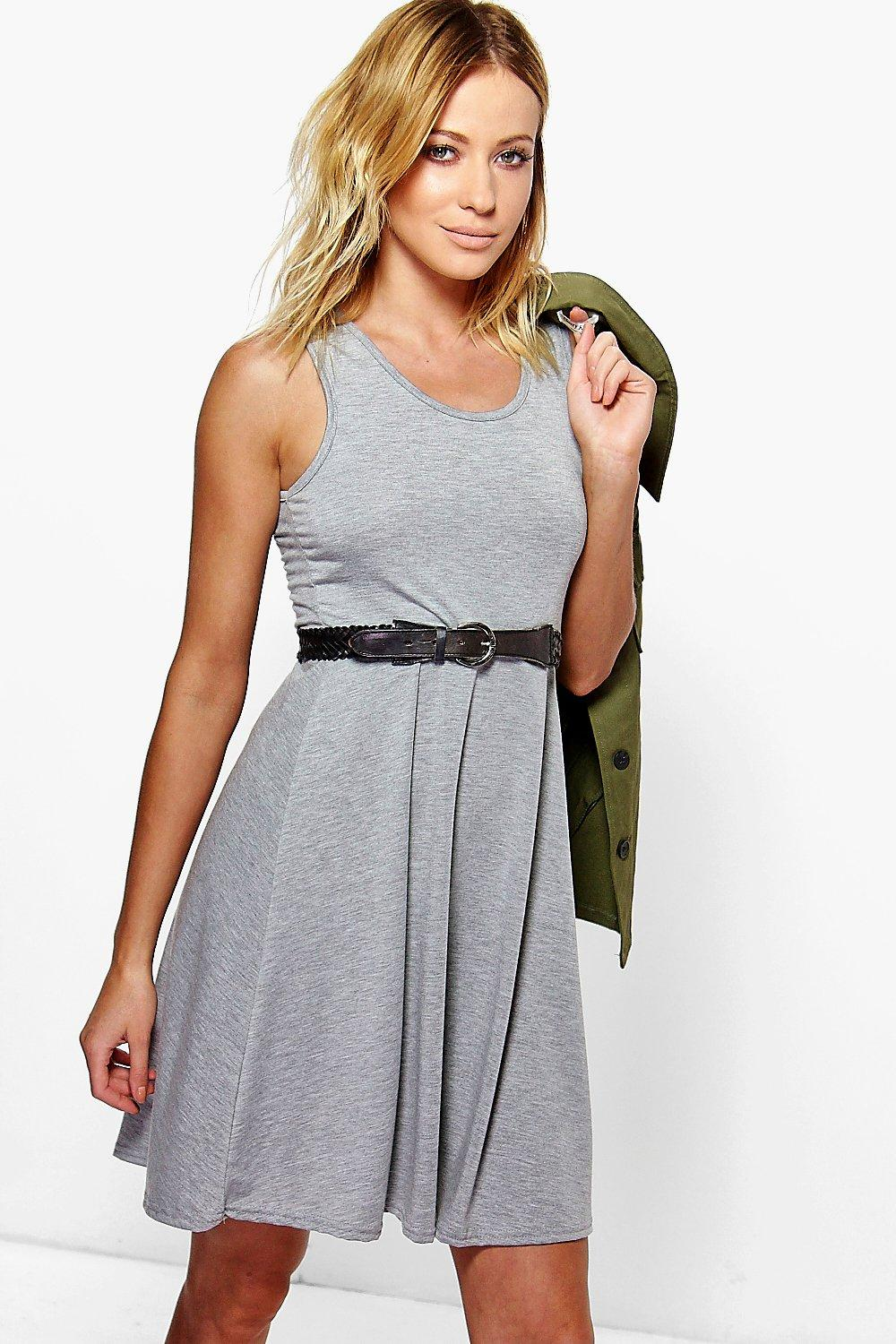 Sally Scoop Neck Sleeveless Skater Dress