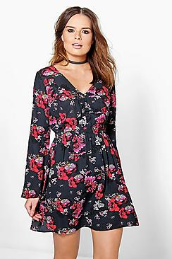 Cecilia Flute Sleeve Drop Neck Dress