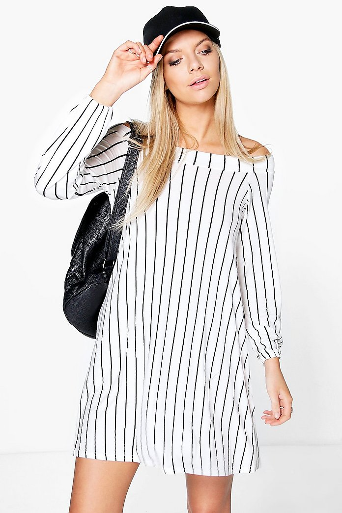 Una Off Shoulder Tie Back Stripe Swing Dress