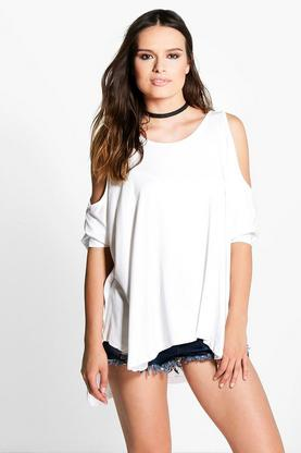 Bonnie Cold Shoulder Oversized Tee