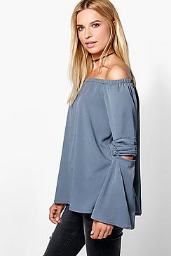Emily Cut Out Sleeve Bardot Tunic