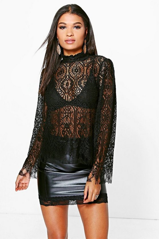 Isabella Eyelash Lace High Neck Blouse