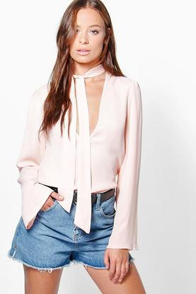 Poppy Pussy Bow Plunge Blouse