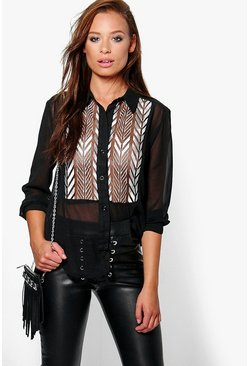 Freya Embroidered Panel Sheer Shirt