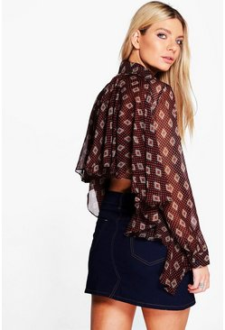 Holly Ruffle Back Tile Print Shirt