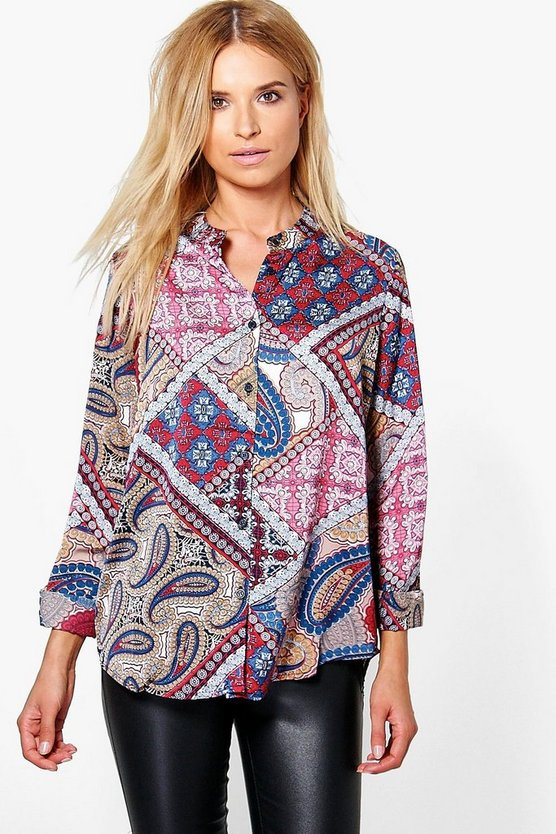 Brooke Silky Paisley Collarless Shirt