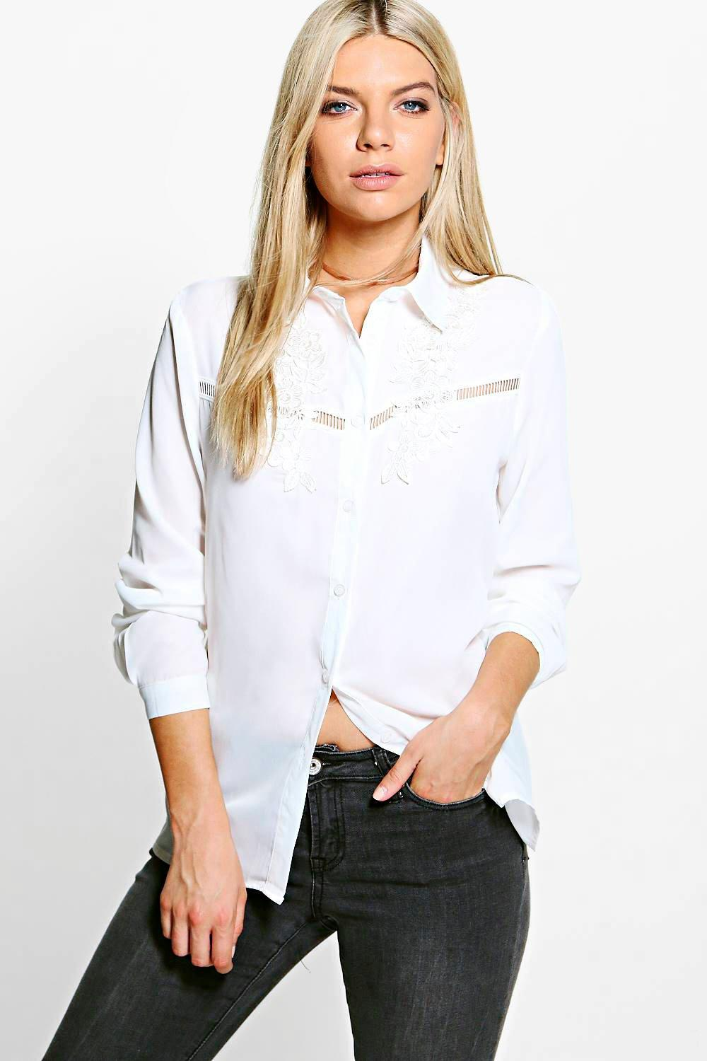Amelia Embroidered Ladder Trim Shirt
