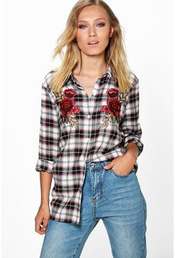Saskia Brushed Check Floral Applique Shirt