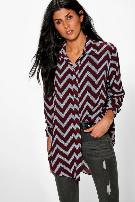 Julia Zig Zag Print Oversized Shirt
