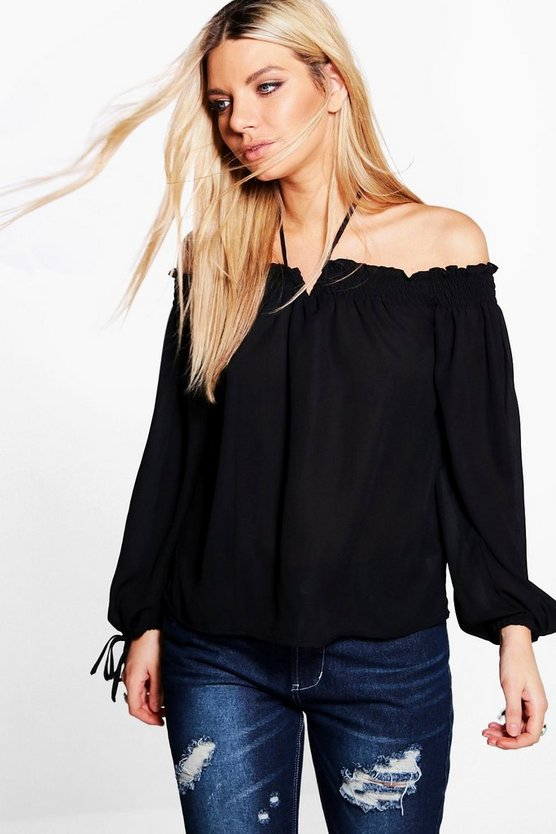 Zoe Tie Neck Bardot Top