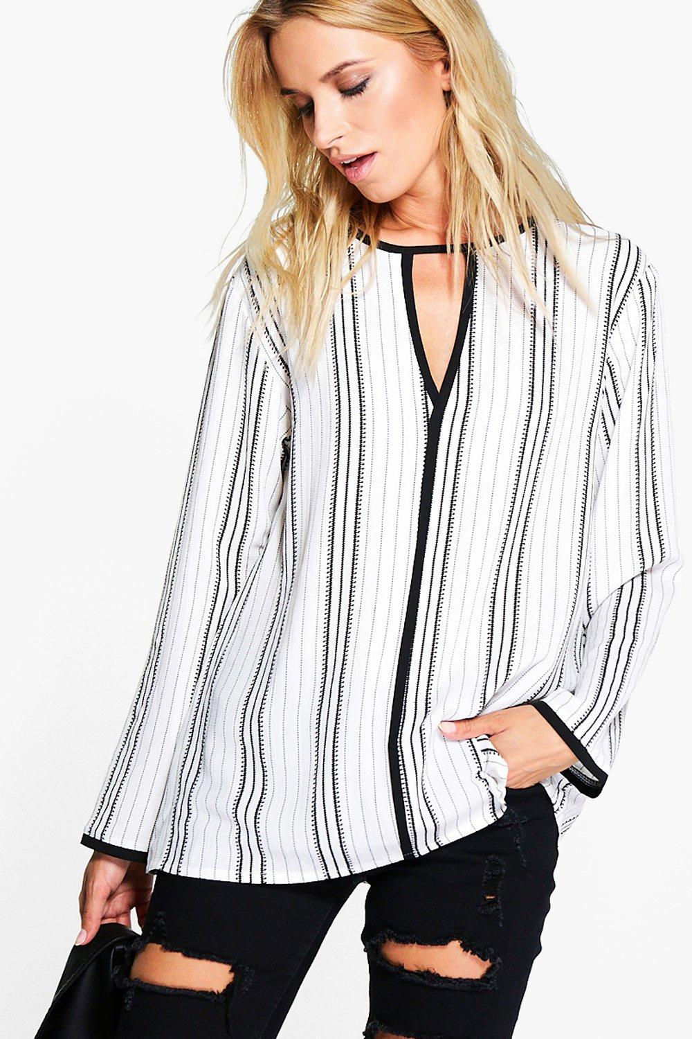 Heidi Printed Long Sleeve Neck Band Blouse
