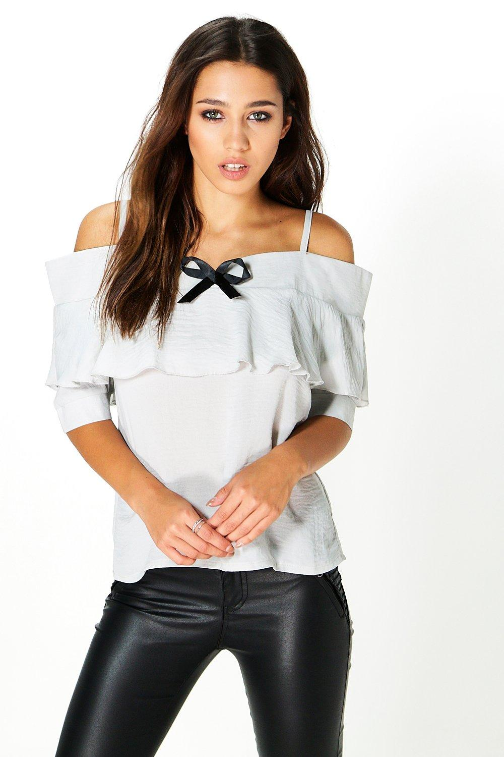 Flora Cold Shoulder Frill Woven Top