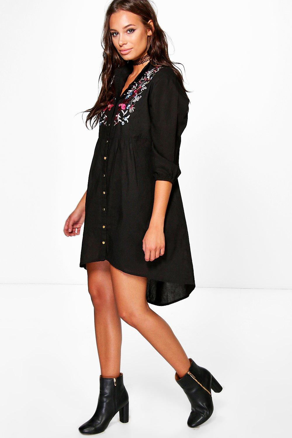 Ana Embroidered Black Denim Shirt Dress
