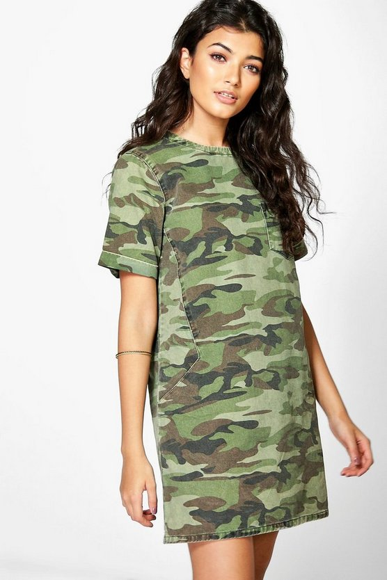 Jessie Camo Denim Shift Dress