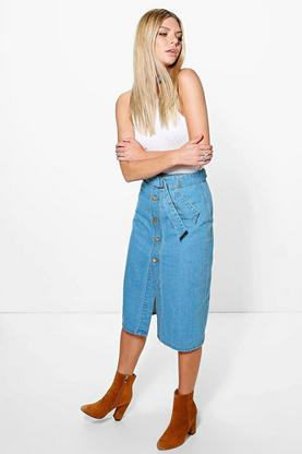 Jane Button Through Belted Denim Skirt