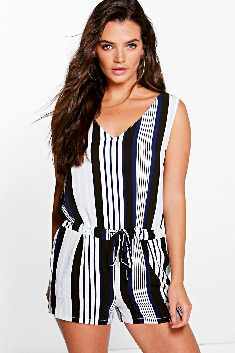 Suzie Stripped Drawstring Playsuit
