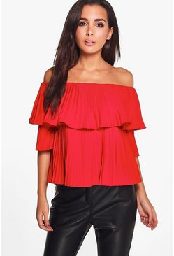 Amy Pleated Ruffle Bardot Top