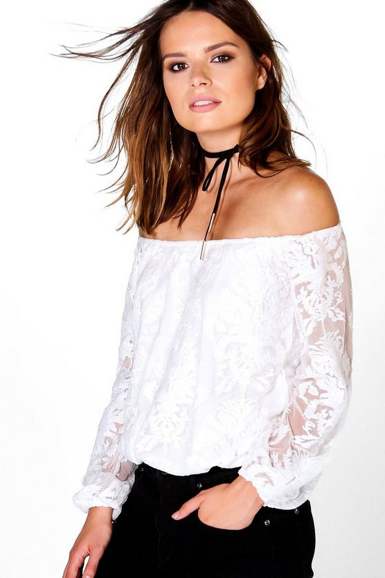Inga All Over Lace Bardot Top