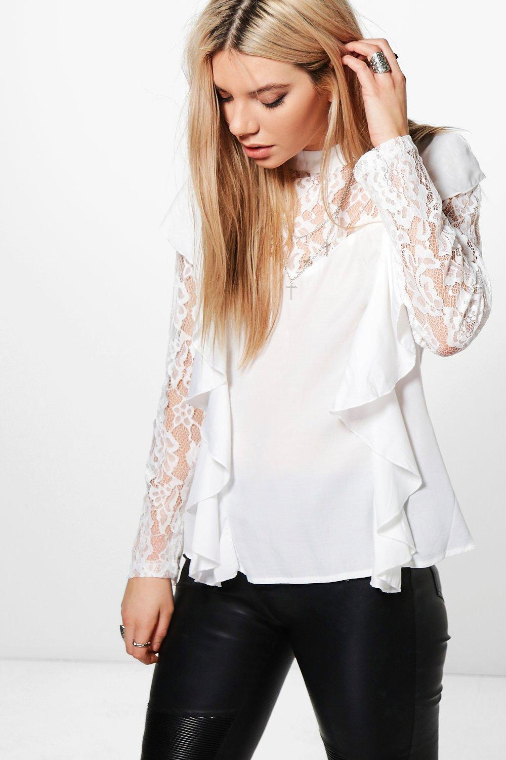 Evie High Neck Lace Sleeve Blouse