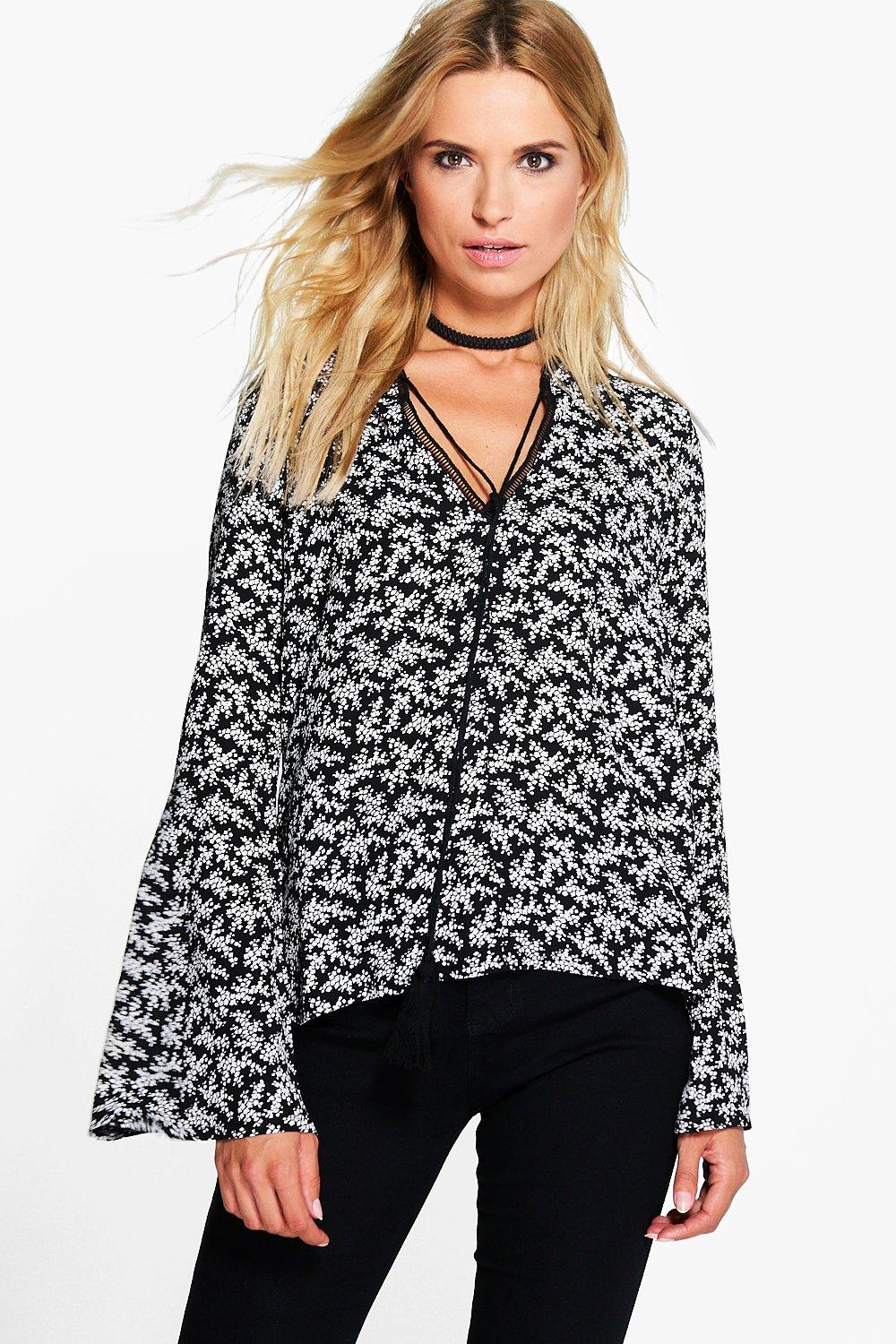 Megan Ladder Trim Tie Neck Printed Blouse