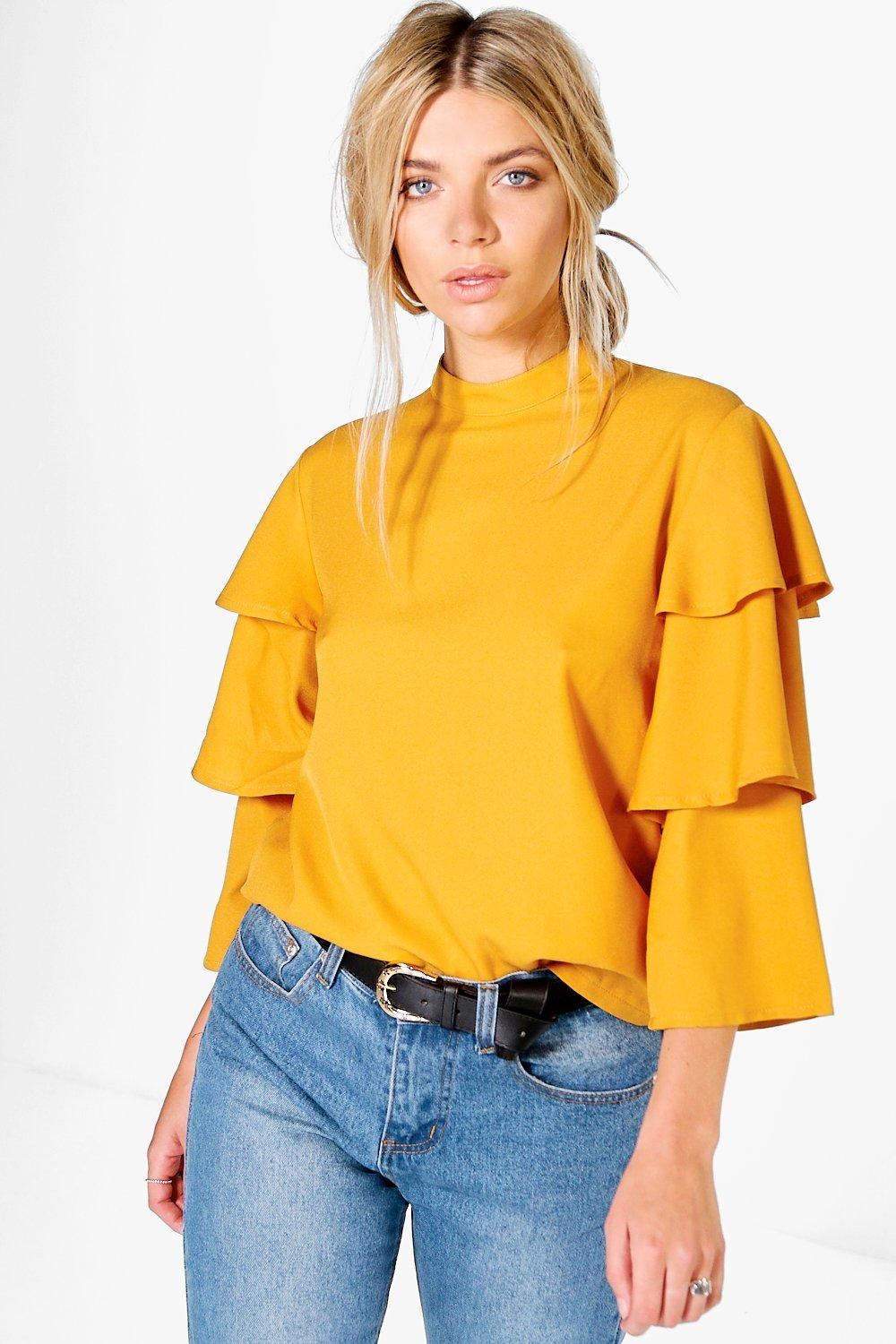 Tiered Sleeve High Neck Blouse  amber