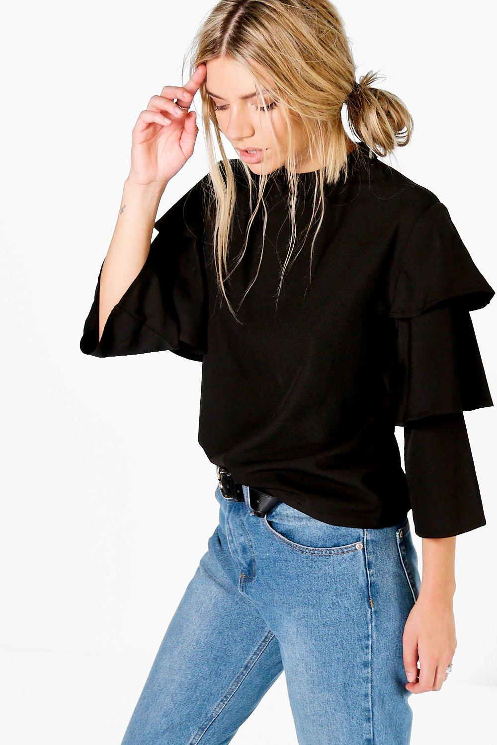 Tiered Sleeve High Neck Blouse  black