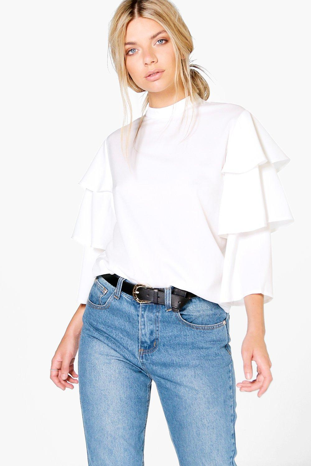 Tiered Sleeve High Neck Blouse  white