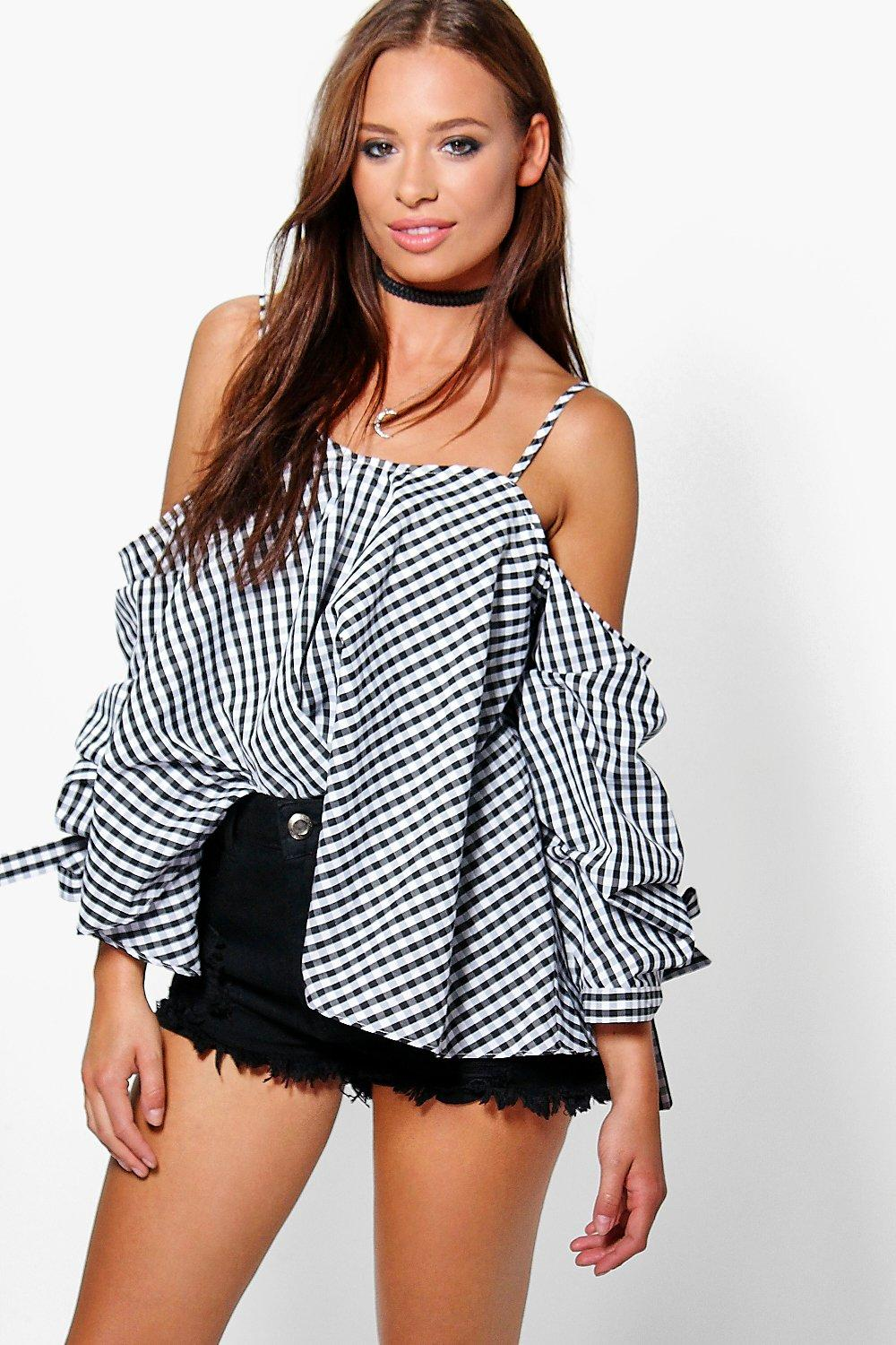 Sally Gingham Cold Shoulder Cotton Top