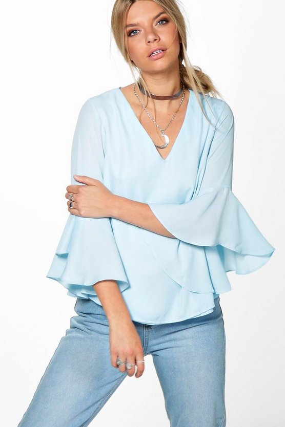 Beci Cowl Back Frill Sleeve Blouse