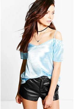 Eliza Satin Open Shoulder Blouse