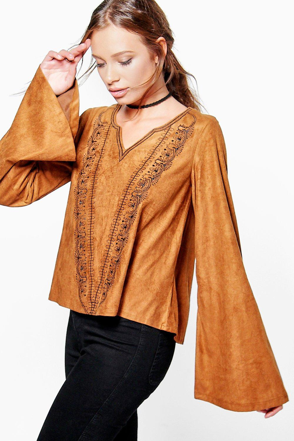 Esme Embroidered Suedette Flared Sleeve Top