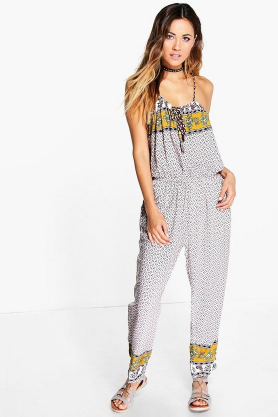 Betty Border Print Jumpsuit