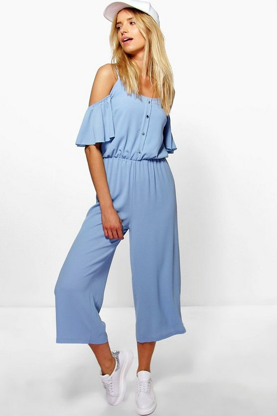 Helena Cold Shoulder Button Jumpsuit