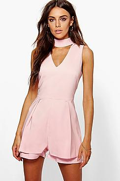 Alison Double Layer Choker Playsuit