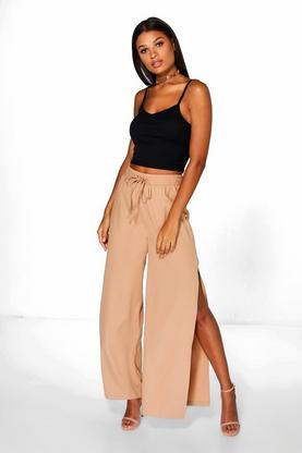 Thalia Woven Side Split Wide Leg Trousers