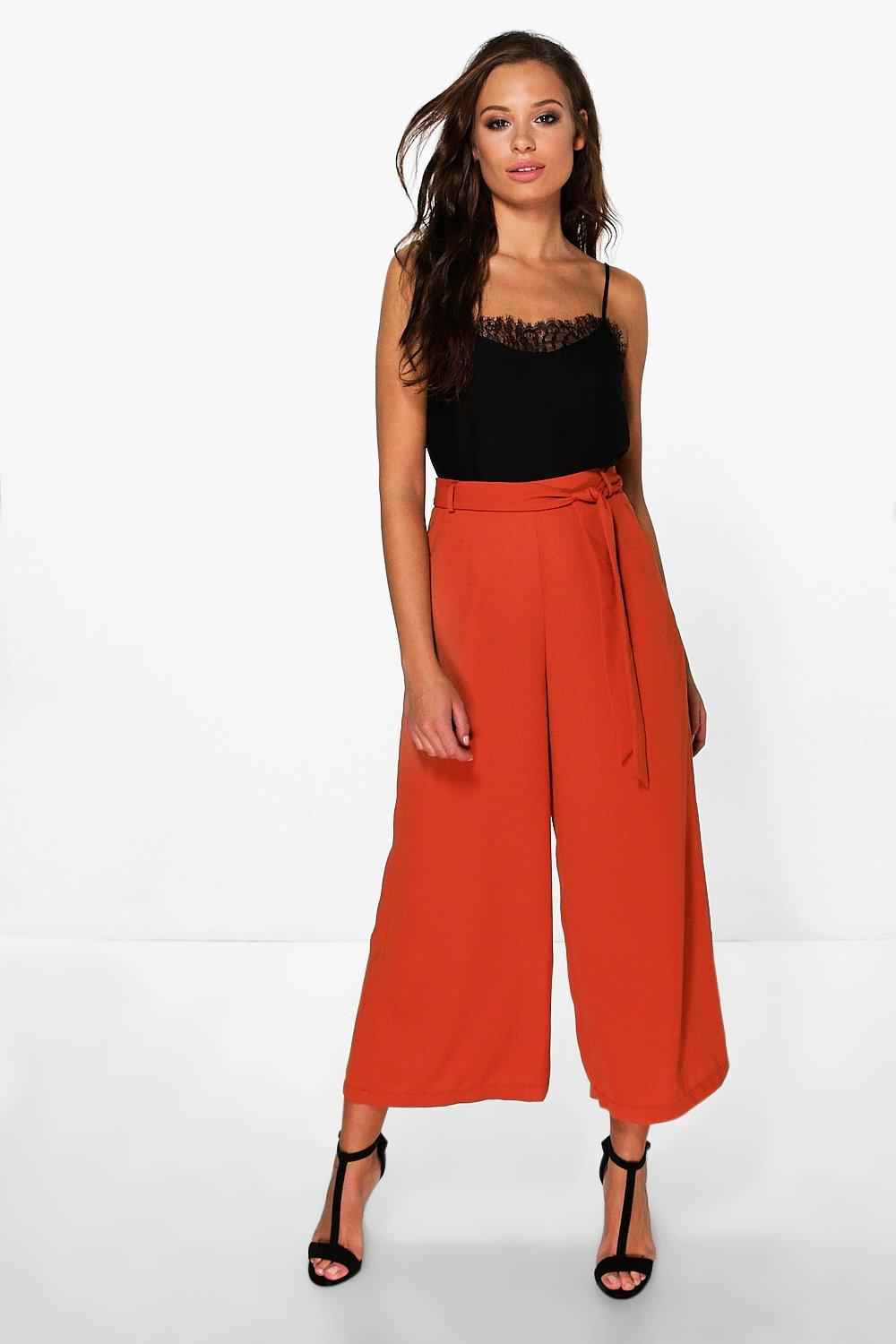 Priya Tie Waist Woven Wide Leg Crop Trousers