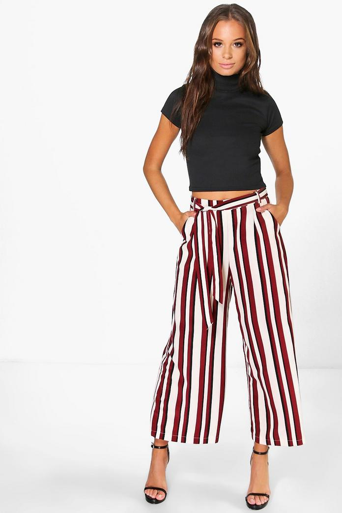 Striped Wide Leg Trousers. Striped Wide Leg Trousers. Was £ Was £ Now £ Size Guide. Select Size: * 4 6 8 10 12 14 16 Qty: * Shop the look; SALE. Product details. Striped jacquard wide leg trousers. % Viscose. Machine wash.