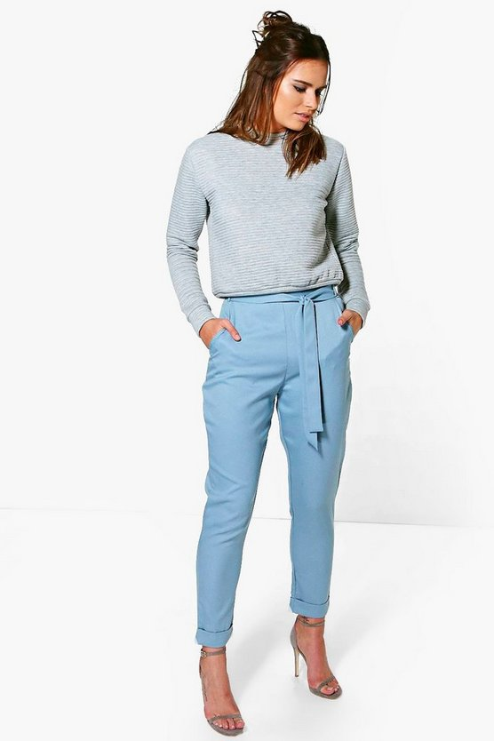 Kate Tie Waist Turn Up Tailored Trousers