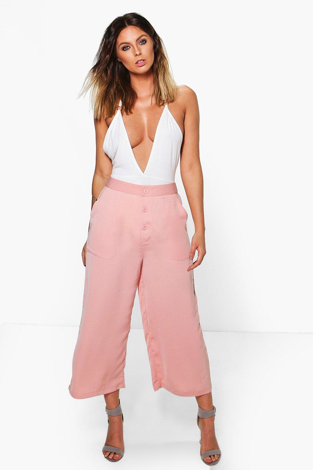 Noemi Button Front Wide Leg Cropped Trousers