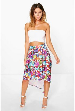Madina Bright Floral Dipped Hem Full Midi Skirt