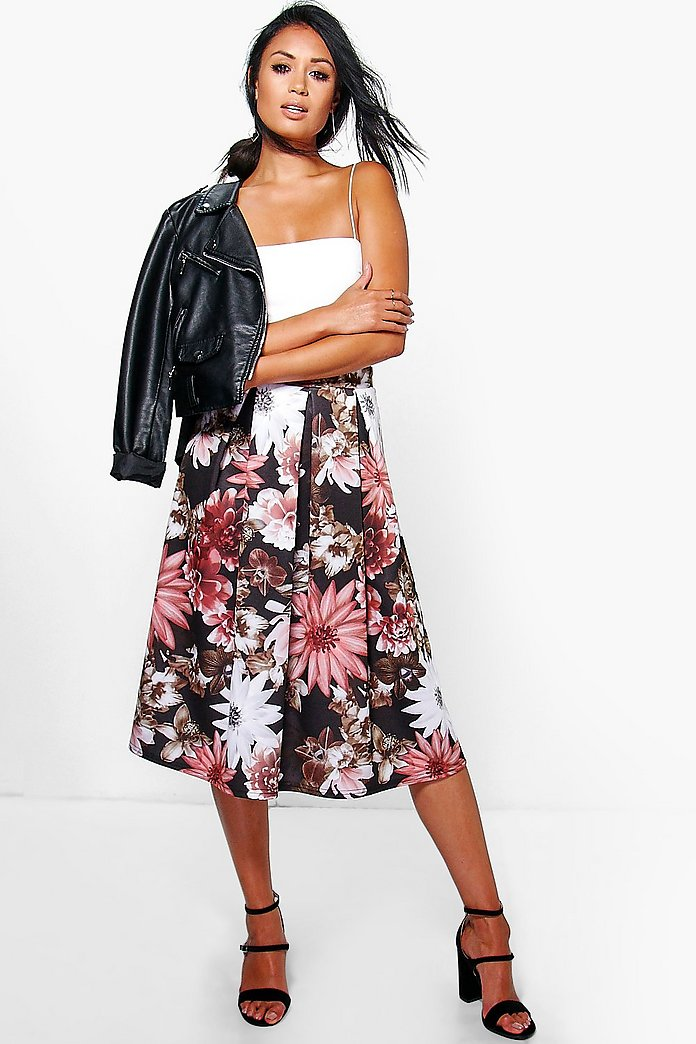 Amora Dark Floral Full Skater Skirt