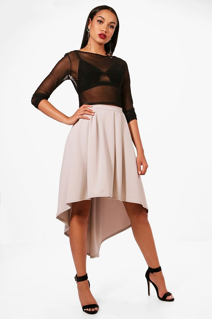 Eeva Dipped Hem Full Scuba Midi Skirt