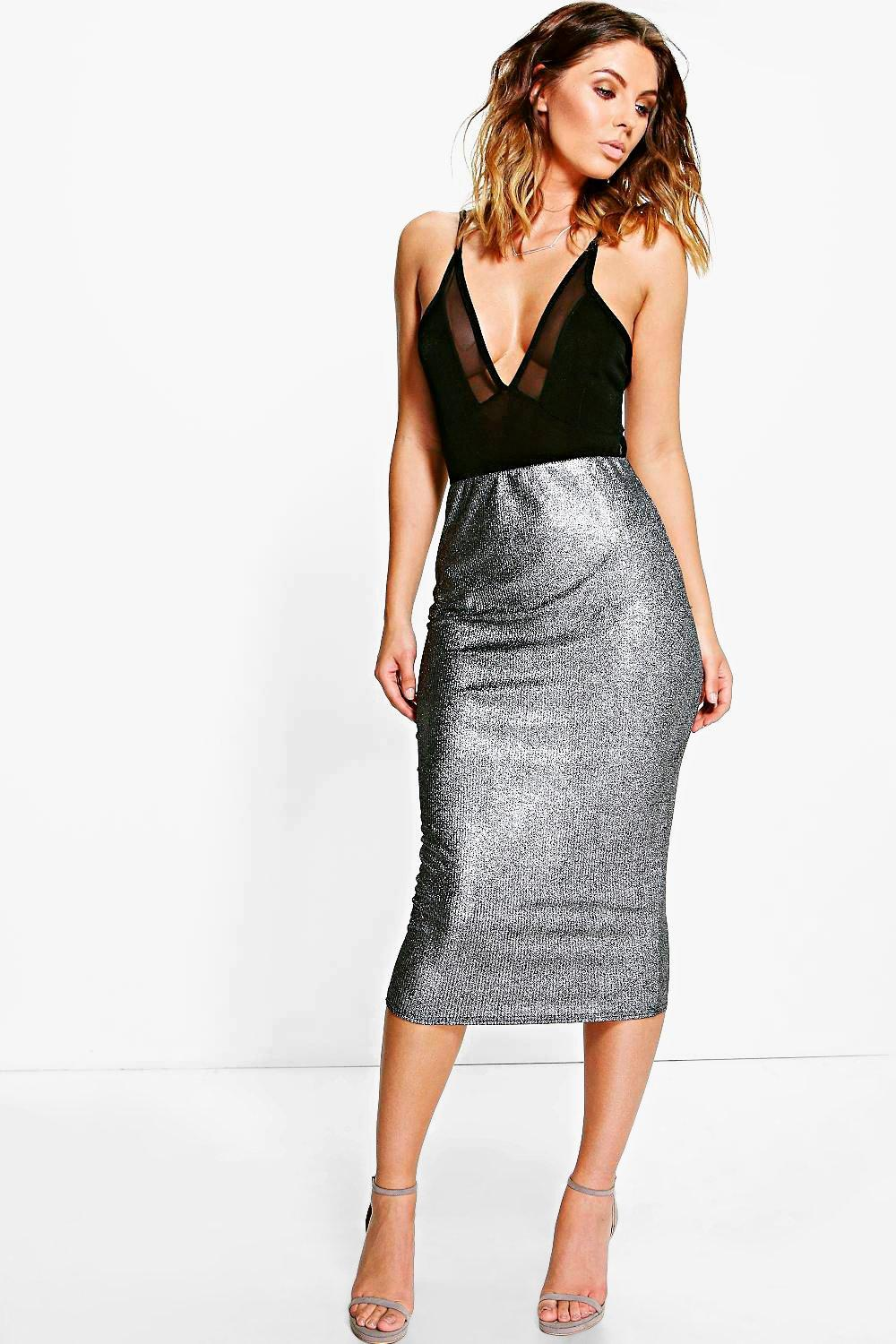 Metallic Rib Longer Line Midi Skirt  black