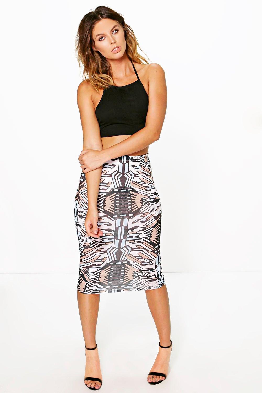 Aztec Print Midi Skirt multi