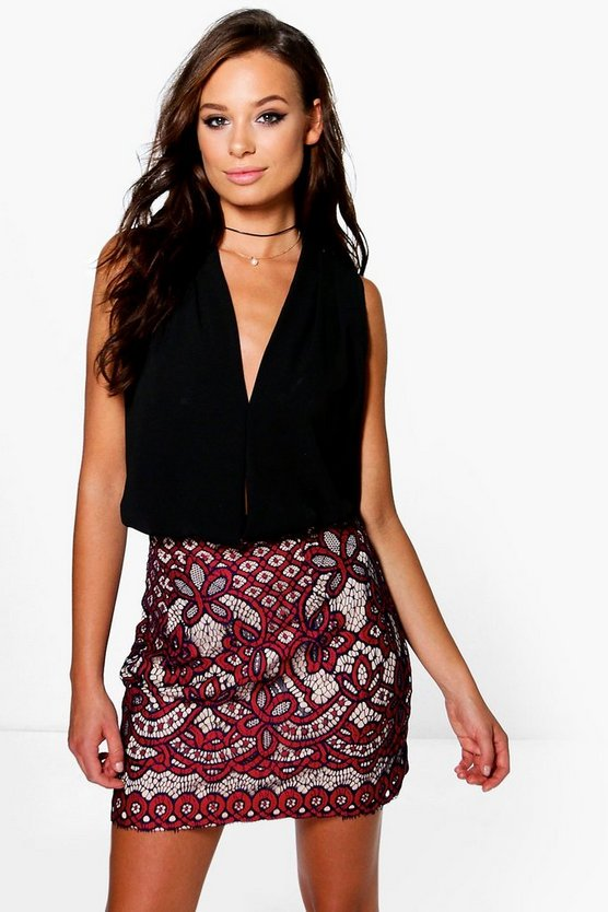Boutique Nalani Contrast Lace A Line Skirt