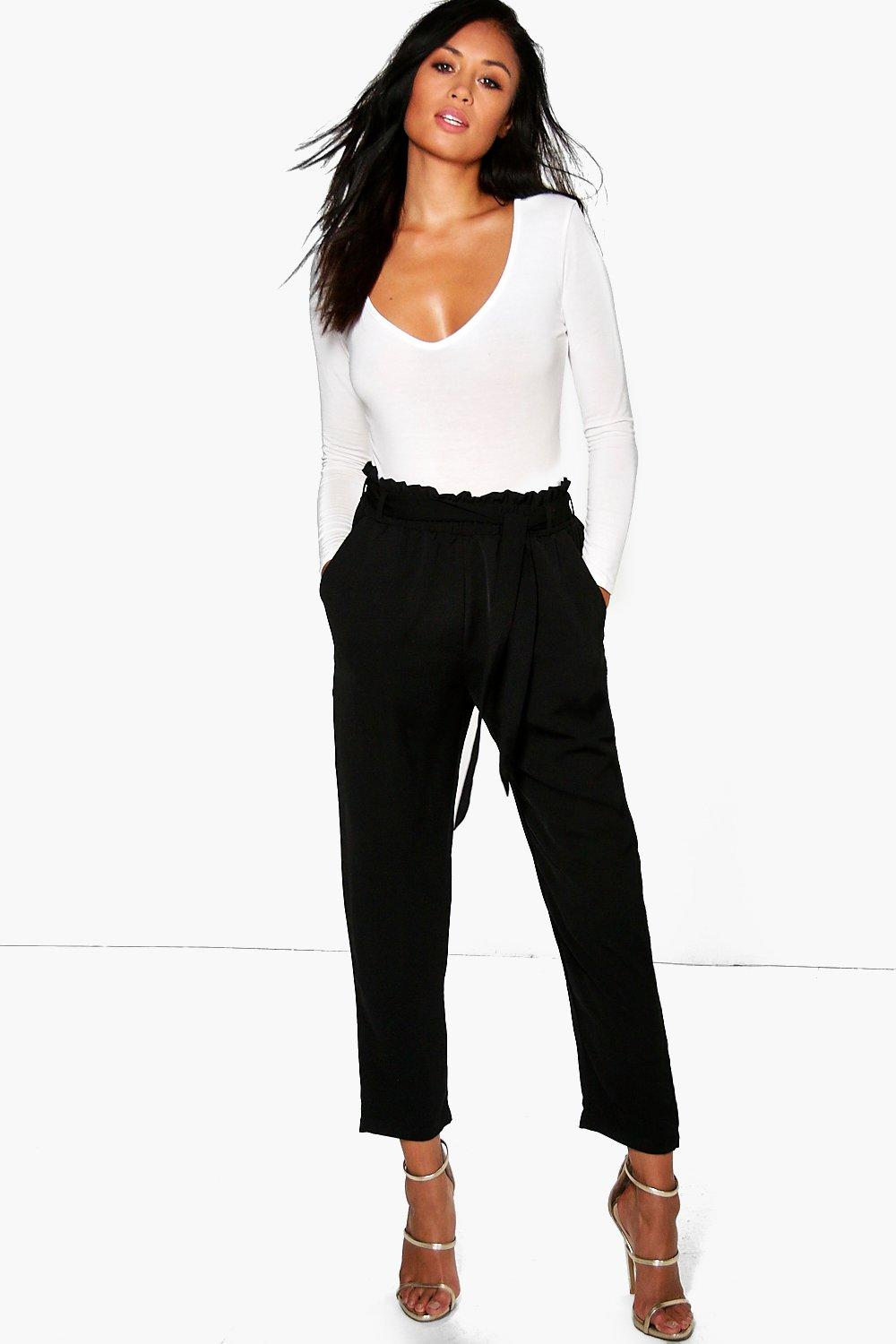 Gathered Tie Waist Tailored Trousers - black